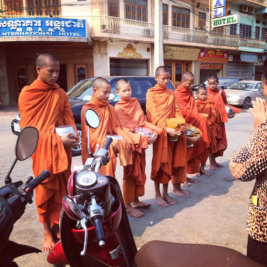 buddhist monks at the market