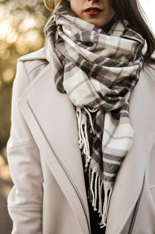 plaid scarf beige