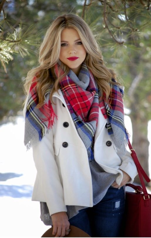 plaid scarf red and blue