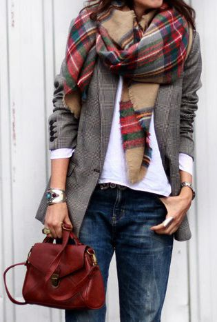 plaid scarf beige and red