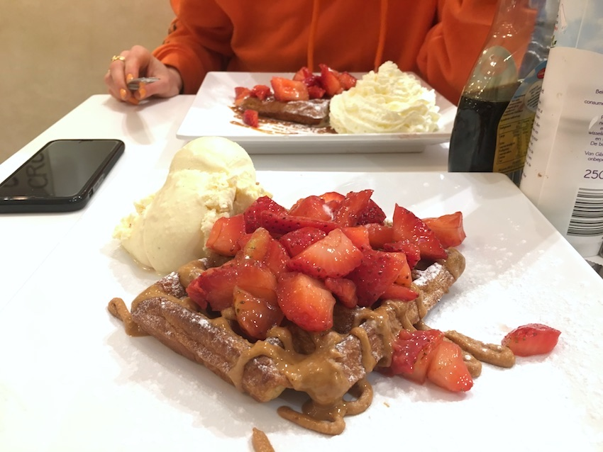 waffle in amsterdam with strawberries and peanut butter